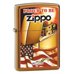 ACCENDINO BENZINA ANTIVENTO 24746 MAZZI FLAG PROUD TO BE MADE USA LIGHTER FUEL